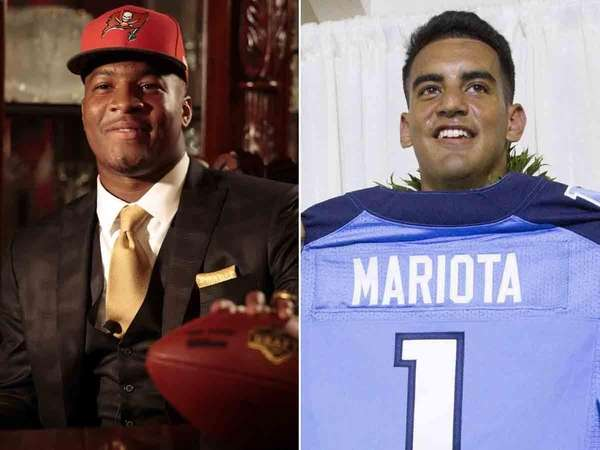 Jameis Winston, left, and Marcus Mariota were selected