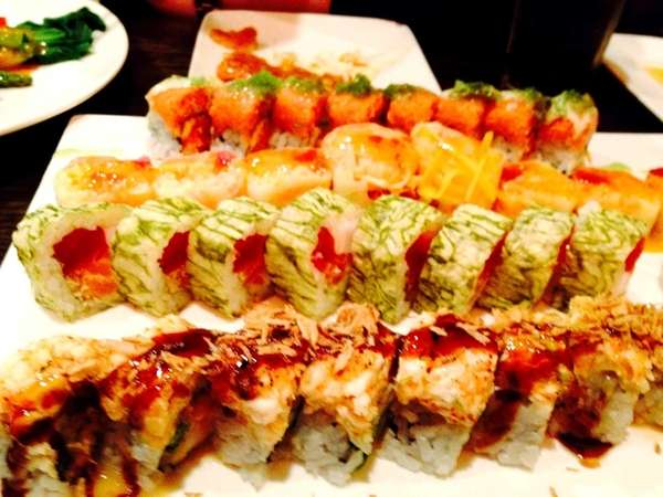 Colorful sushi rolls are popular choices at Akira