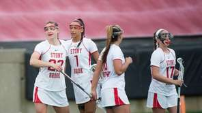 Stony Brook's Courtney Murphy celebrates after scoring a