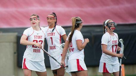 Stony Brook's Courtney Murphy celebrates after scoring a