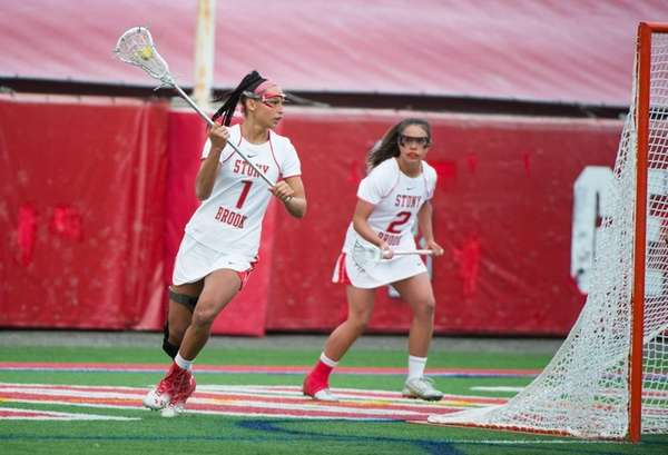 Stony Brook's Michelle Rubino controls the ball against