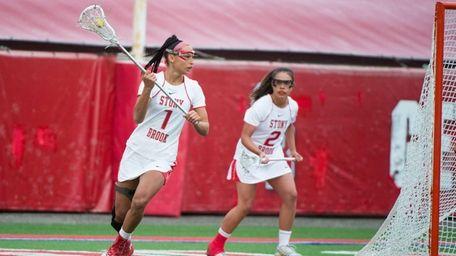 Stony Brook's Michelle Rubino controls the ball against