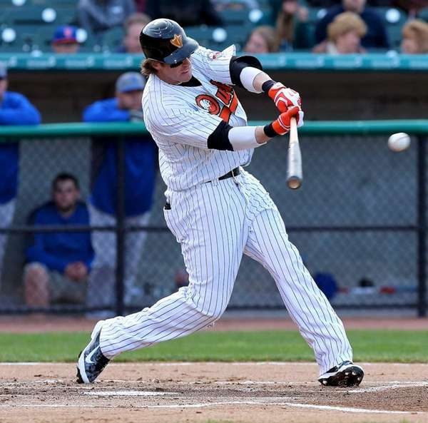 Long Island Ducks' Bryan Sabatella hits a double