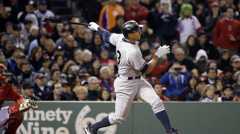 New York Yankees pinch hitter Alex Rodriguez hits