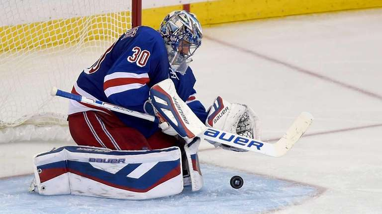 The New York Rangers' Henrik Lundqvist makes a