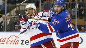 Ryan McDonagh of the New York Rangers defends