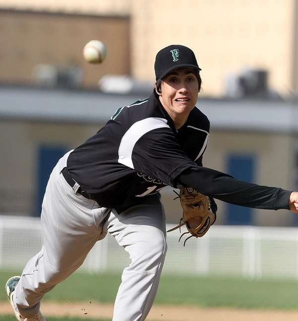 Farmingdale starting pitcher Alex Brosnan throws against Plainview