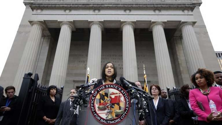 Marilyn Mosby, Baltimore's top prosecutor, speaks during a