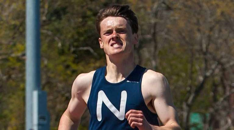 Nortport's Michael Brannigan wins the boys 800-meter run