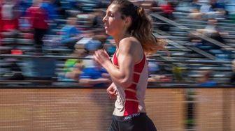 Sachem East's Lauren Harris wins the girls 1,500-meter