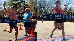 Oz Pealman, left, crosses the finish line of