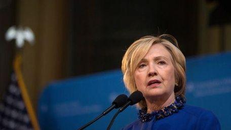 Hillary Clinton at Columbia University last Wednesday where