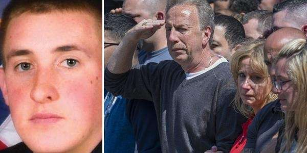 NYPD Officer Brian Moore, left. His father, at