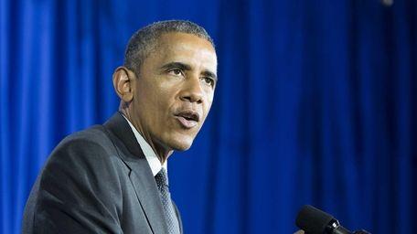 President Barack Obama addresses students and public officials