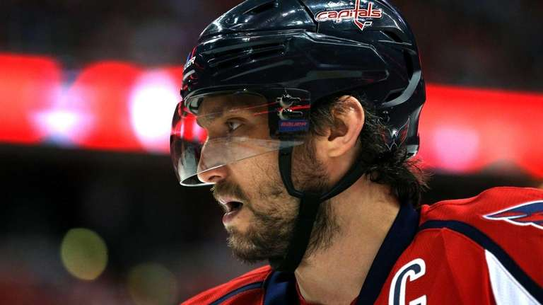 Alex Ovechkin #8 of the Washington Capitals looks
