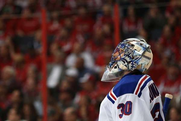 Goalie Henrik Lundqvist #30 of the New York