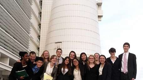 A mock trial team from Three Village Central