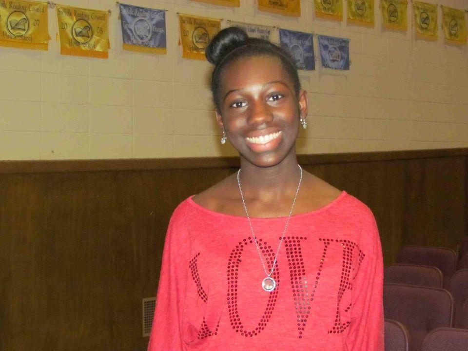 Faith McCombs, 14, an eighth-grader at Copiague Middle