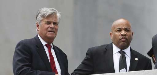 Senate Majority Leader Dean Skelos, R-Rockville Centre, left,