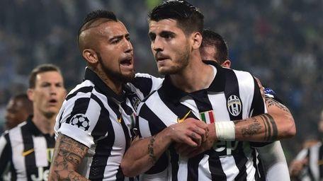 Juventus forward Alvaro Morata, center celebrates with teammates