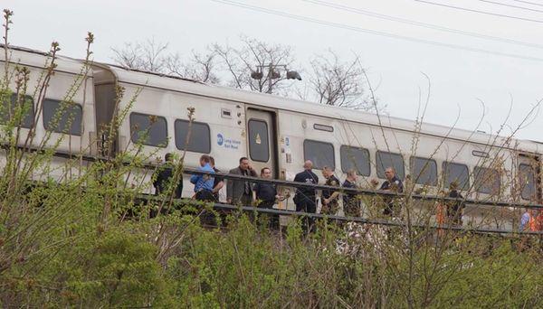 A westbound LIRR train struck a man in