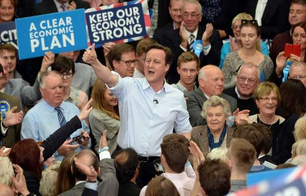 British Prime Minister David Cameron during an election