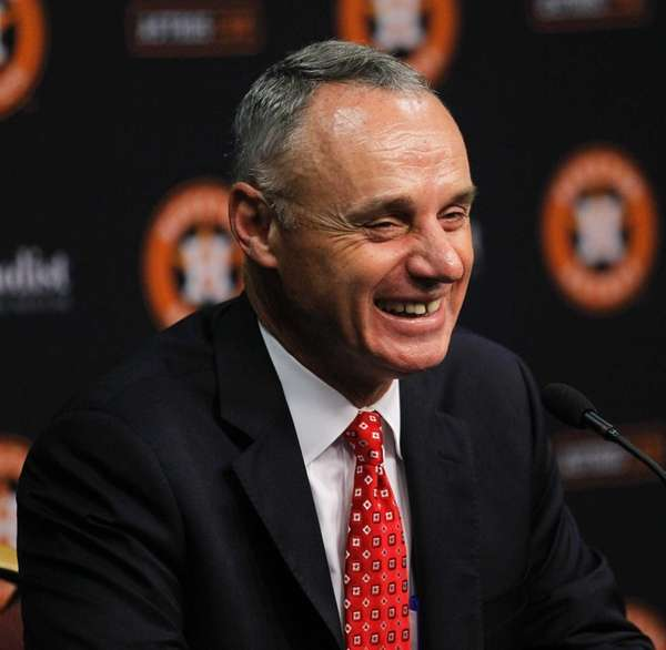 MLB Commissioner Rob Manfred answers questions from the