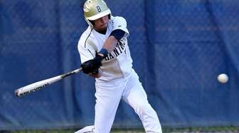 Bayport-Blue Point's Dylan Rooney drives a single through