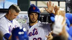Kevin Plawecki of the New York Mets celebrates