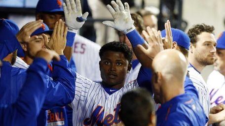 Dilson Herrera of the New York Mets celebrates