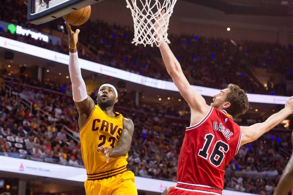 LeBron James of the Cleveland Cavaliers shoots over