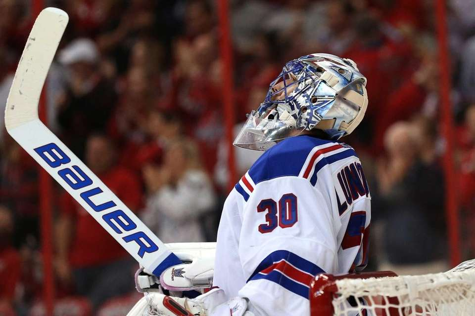 Goalie Henrik Lundqvist of the New York Rangers