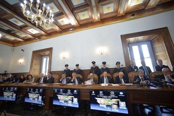 Federico Cafiero De Raho, fifth from right, prosecutor