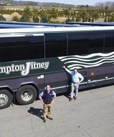 Geoffrey Lynch, president of the Hampton Jitney, left,