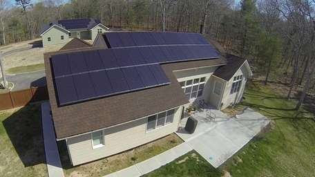Aerial view of the solar-powered home of Philip