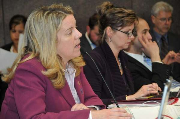 Legis. Kara Hahn addresses speakers during the public