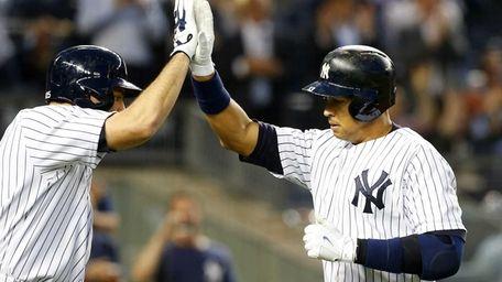 Alex Rodriguez of the New York Yankees celebrates