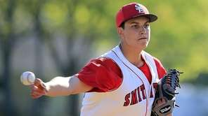 Smithtown East pitcher Dominic Savino delivers in the