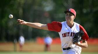 Smithtown East pitcher Dominic Savino delivers a pitch