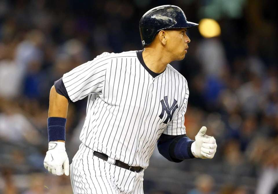 Alex Rodriguez of the New York Yankees runs