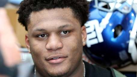 Ereck Flowers is seen during Giants rookie minicamp