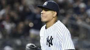 New York Yankees relief pitcher Dellin Betances runs