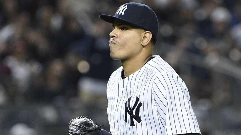 New York Yankees relief pitcher Dellin Betances runs
