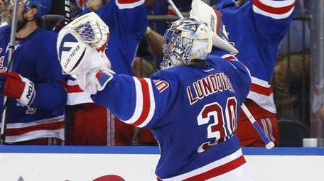Henrik Lundqvist of the New York Rangers celebrates