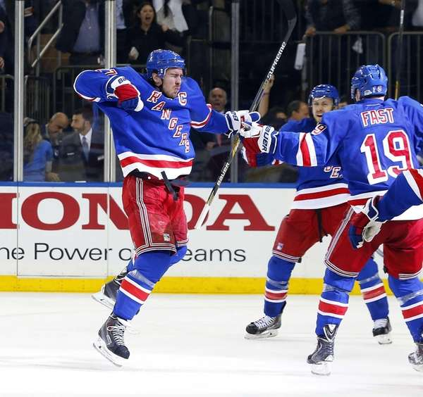 Ryan McDonagh of the New York Rangers celebrates