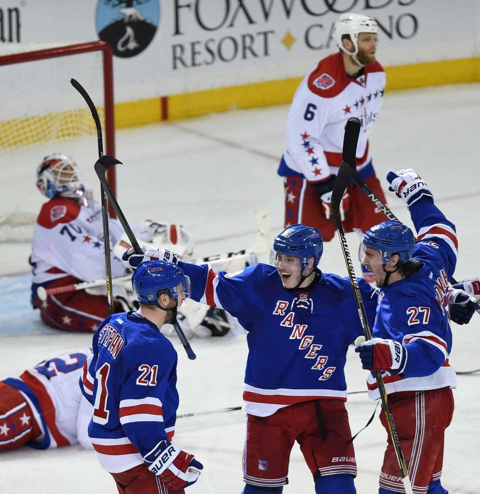 New York Rangers' Ryan McDonagh, Derek Stepan and