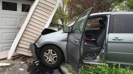 Two people were injured when a minivan crashed