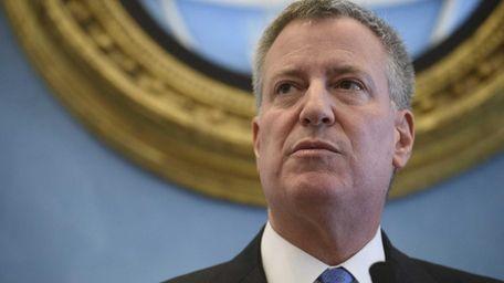 New York City Mayor Bill de Blasio is