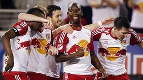 New York Red Bulls' Bradley Wright-Phillips, second right,