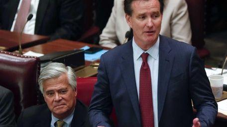 Republican Dean Skelos, left, seen at the Capitol